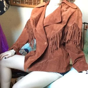 AVANTI Fringe Brown Leather Jacket Western Funk